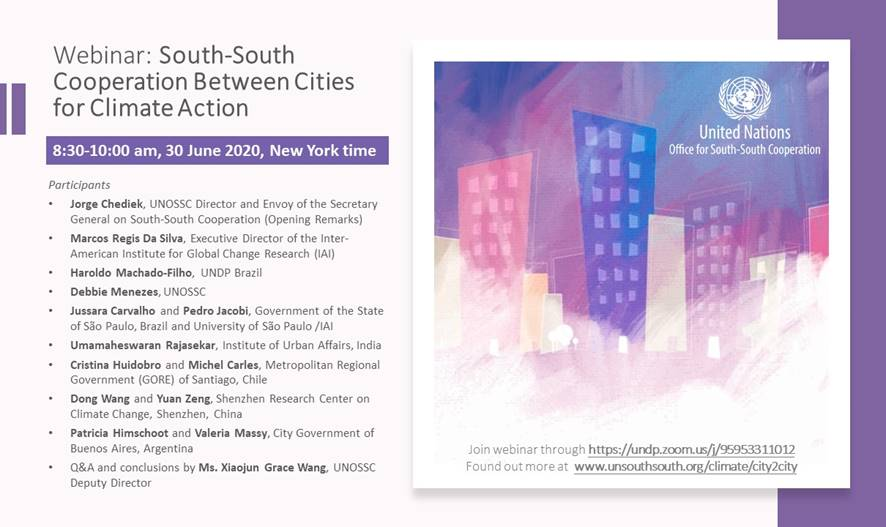 South-South Cooperation for Cities, for Climate Action Programme Webinar Poster Image