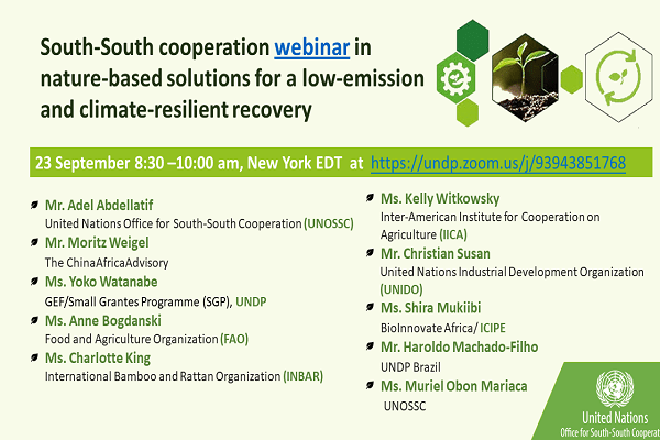 Nature based Solutions South-South Cooperation Webinar Image